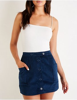 Button Up Corduroy A Line Skirt by Charlotte Russe