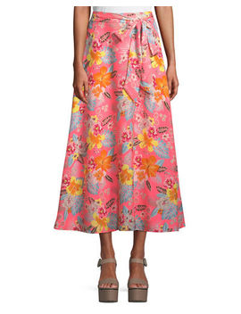 Tie Waist Floral A Line Maxi Skirt by Neiman Marcus