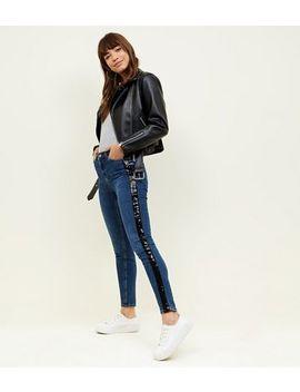 Blue Sequin Side Stripe Skinny Jenna Jeans by New Look