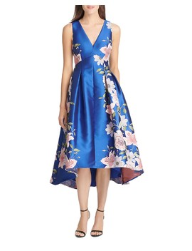 High/Low Floral Jacquard Dress by Eliza J