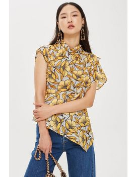 Spot And Floral Print Ruffle Blouse by Topshop