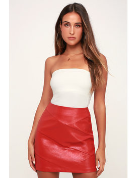 Baddie Red Vegan Leather Mini Skirt by Lulu's