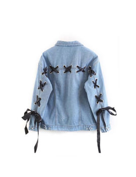 Women Girls Lace Up Denim Jacket Casual Loose Slim Pockets Buttons Jeans Jackets by Unbranded