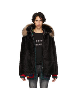 Black Faux Fur Jacket by Saint Laurent