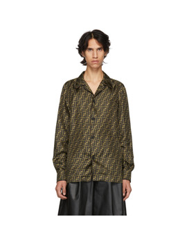 Brown & Tan Silk 'forever Fendi' Shirt by Fendi