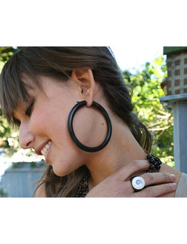 Namaya Hoops   Wooden Post Earrings Xl/Black 1 by Tribal Style