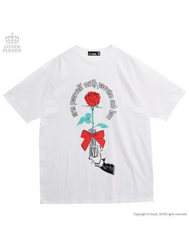 Rose Pistol Big T Shirt White  Listen Flavor Harajuku Kawaii by Listen Flavor