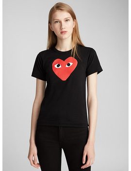 Red Heart Print Black T Shirt by Comme Des Garçons Play Comme Des Garçons Play Comme Des Garçons Play Comme Des Garçons Play Icône