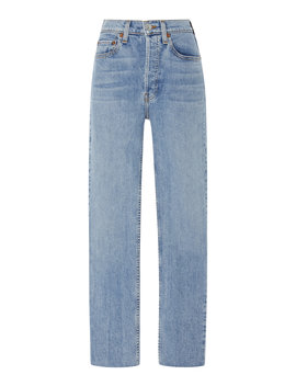 Cropped High Rise Rigid Straight Leg Jeans by Re/Done