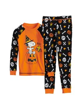 Toddler Boy Peanuts Snoopy &Amp; Woodstock Halloween Top &Amp; Bottoms Pajama Set by Kohl's