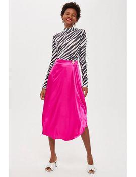 Petite Drape Waterfall Midi Skirt by Topshop