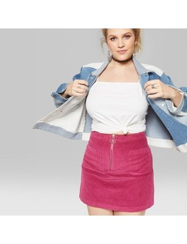 Women's Plus Size Zip Front Corduroy Mini Skirt   Wild Fable™ Pink by Shop All Wild Fable™