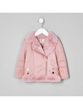 Mini Girls Pink Faux Fur Lined Aviator Jacket by River Island