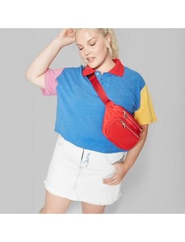 Women's Plus Size Color Blocked Short Sleeve Polo Shirt   Wild Fable™ Blue by Shop All Wild Fable™