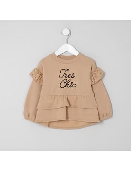 Mini Girls Beige Tiered Peplum Hem Sweater by River Island