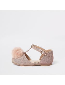 Mini Girls Pink Pom Pom Pumps by River Island