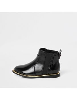 Mini Girls Black Croc Panel Patent Boots by River Island