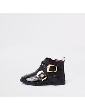 Mini Girls Black Stud Buckle Ankle Boots by River Island