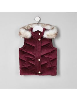 Mini Purple Velvet Faux Fur Puffer Vest by River Island