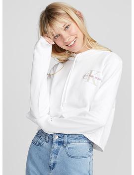Cropped Hooded Logo Sweatshirt by Calvin Klein Jeans Simons Bleu Forêt Nike