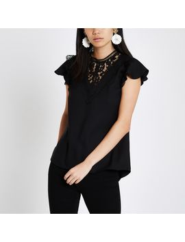Black Lace Trim Short Sleeve Top by River Island