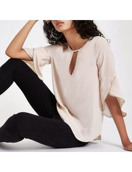 Cream Beaded Frill Blouse by River Island