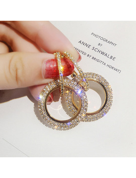 Fyuan Fashion Korean Style Big Round Hoop Earrings Luxury Gold Silver Color Rhinestone Earring Women Party Jewelry Gift by Fyuan