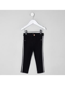 Mini Girls Black Molly Stripe Mid Rise Jeans by River Island