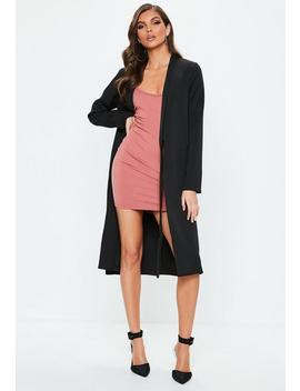Black Tie Longline Duster Blazer by Missguided