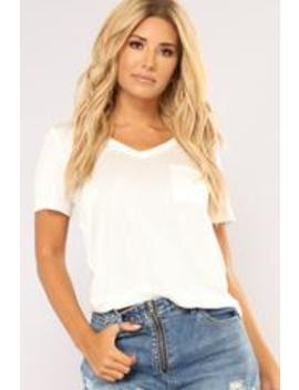 Bella Basic V Neck Pocket Top   Ivory by Fashion Nova
