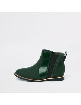 Mini Girls Green Croc Panel Patent Boots by River Island