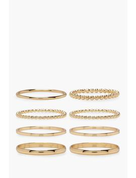 Plus Gold 8 Pack Basic Ring Set by Boohoo