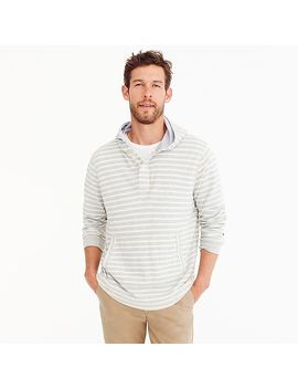 Beach Thermal Henley Hoodie In Heather Grey Stripe by J.Crew