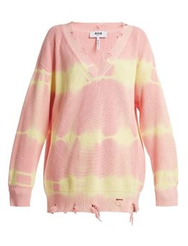 Oversized Distressed Tie Dye Cotton Sweater by Msgm
