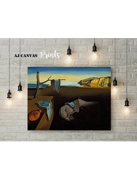 Salvador Dali Painting Imitation, Persistence Of Memory Wall Art, Salvador Dali Wall Art, Surrealism Reproduction Surrealism Wall Art Canvas by Aj Canvas Prints