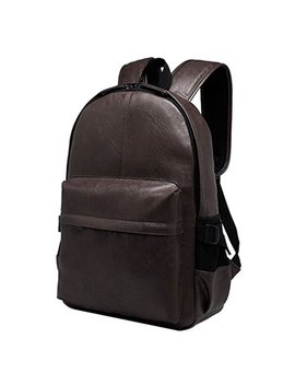 Backpack,Coofit Men's Pu Leather School Backpack Shoulder Bookbag Hiking Travel Rucksack Bookbag Backpack Casual Backpack School College Travel Backpack For Boys Mens by Coofit