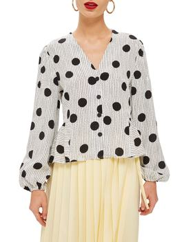 Spotted Peplum Blouse by Topshop