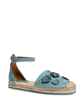 Ankle Strap Astor Leather Espadrilles by Coach