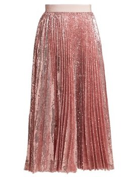 Sequinned Pleated Midi Skirt by Msgm