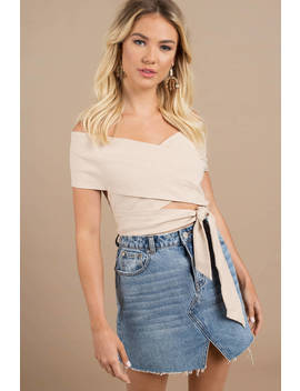 Astr Vienna Natural Off Shoulder Wrap Top by Tobi