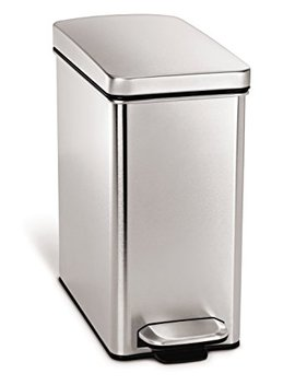 Simplehuman 10 Liter/2.6 Gallon Stainless Steel Bathroom Slim Profile Trash Can, Brushed Stainless Steel by Simplehuman