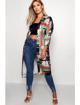 Plus Lollie Printed Woven Kimono by Boohoo