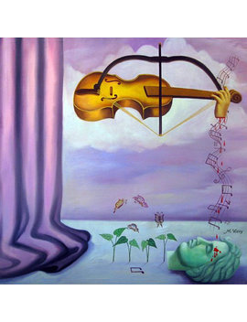 Violin Painting, Surrealism, Technology, Butterfly Painting, Magritte Inspired, Oil Painting, Original Art, Art Prints, Global Warming, by Identroart