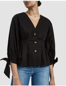 Jolee Pleated Blouse In Black by Stelen