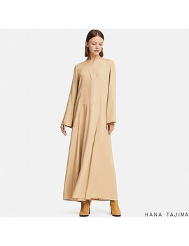 Women Hpj Rayon Flare Long Sleeve Long Dress by Uniqlo