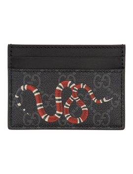 Grey & Black Snake Gg Supreme Card Holder by Gucci