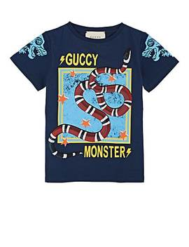 Kids' Snake Print Cotton T Shirt by Gucci