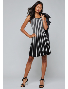 Fancy Stripe Sweater Dress by Bebe