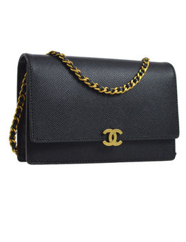 Auth Chanel Cc Chain Shoulder Wallet Bag Black Caviar Skin Leather Vtg Ak23963 by Chanel