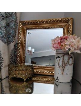 Vintage Ormolu Jewelry Box, Ormolu Box, Vintage Gold Jewelry Box, Vintage Gold Frame, Ornate Gold Beveled Mirror, 16x16 Vintage Mirror by Lovely Lucia Boutique